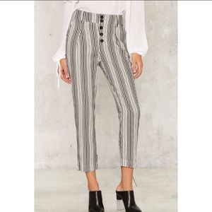 Some stripe of way cropped trousers